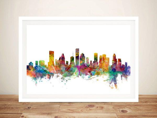 Buy Houston Texas Skyline Framed Wall Art