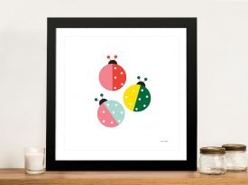 Buy Multicoloured Ladybug Canvas Wall Art