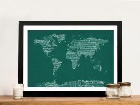 Buy Old Sheet Music World Map Wall Art