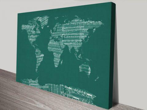 Buy Sheet Music World Map Art Cheap Online