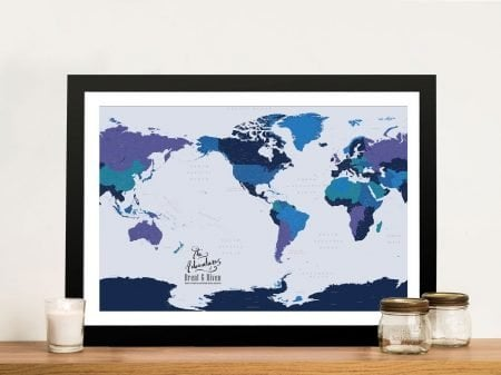 Personalised Pacific Central Push Pin Map