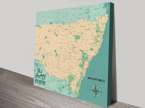 Personalised New South Wales Push Pin Map Canvas Print