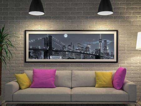 Buy Manhattan by Night Panoramic Framed Art