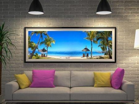 Buy a Framed Panoramic Print of Mauritius Beach