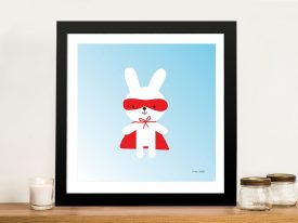 Buy a Framed Print of Rabbit Super Hero