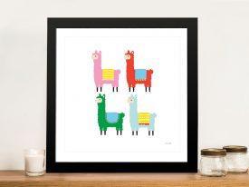 Buy The Llamas a Fun & Colourful Kids Print