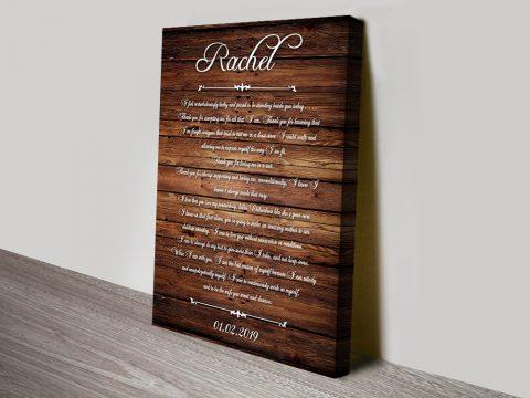 Wedding Vows Art Wood canvas print