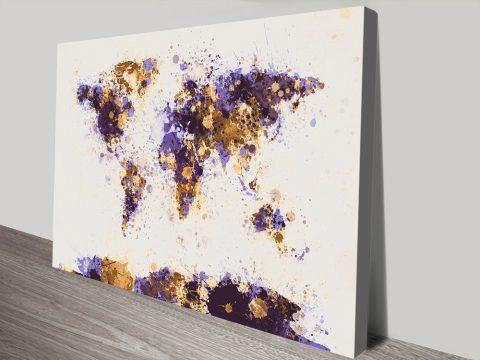 Buy Cheap Paint Splash World Map Wall Art AU