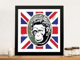 Buy a Banksy Style Print of Monkey Queen Flag