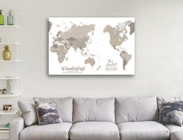 Bronze Pacific Centric World Map Canvas Art