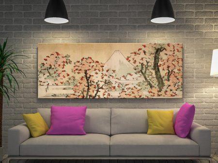 Hokusai Mount Fuji behind cherry trees and flowers Framed Artwork