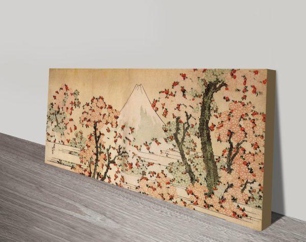 Mount Fuji Behind Cherry Trees and Flowers HokusaiPanoramic Art