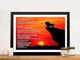 Buy a Lion King Circle of Life Lyrics Poster Print