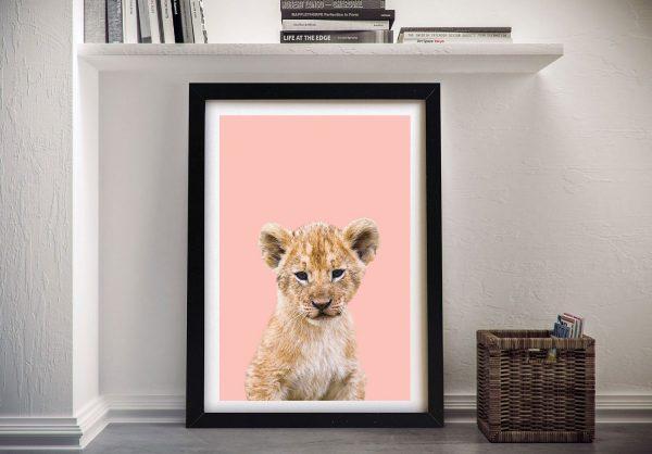 Buy a Framed Lion Cub Nursery Wall Art Print