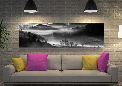 Horse Black White Canvas Artwork