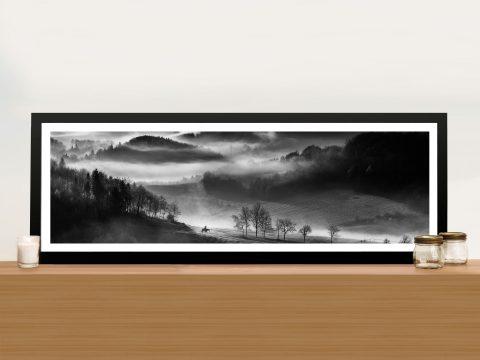 Morning Ride Black & WhitePanoramic Framed Print