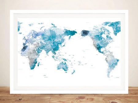 Buy Amazing World Map Wall Art in Ocean Tones