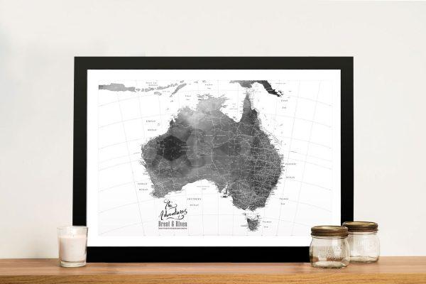 Buy a Custom Australia Map in Black & White