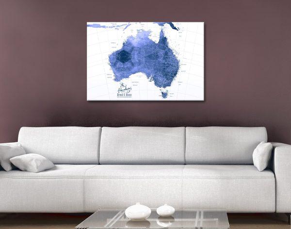 Australia Blue Watercolour Pushpin Map