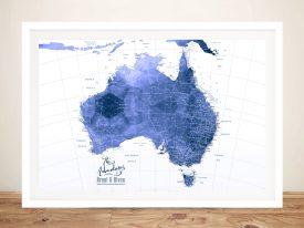 Custom Australia Blue Watercolour Pushpin Map