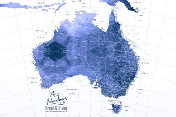 Australia Blue Watercolour Pushpin Map Art