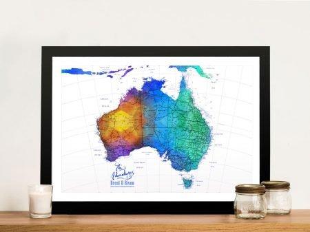 Custom Blue Splash Australia Push Pin Map