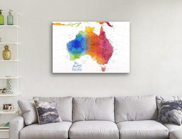 Buy a Colourful Custom Map of Australia Online