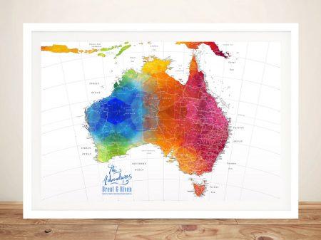 Buy a Custom Watercolour Map of Australia