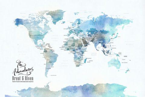 Blue Watercolour Minimalist PushPin World Map