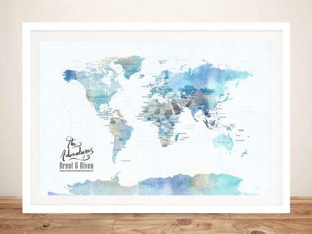 Blue Watercolour Minimalist World Map