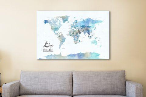 Blue Watercolour Map Canvas Artwork