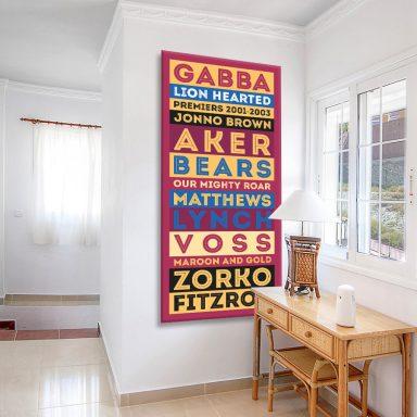 Brisbane Lions Retro Canvas Artwork