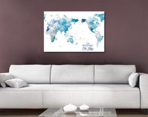 Australia Centred Watercolour Push Pin World Map