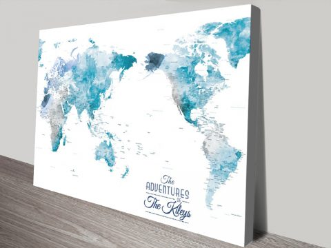 Australia Centred Ocean Tones Watercolour Pinboard World Map