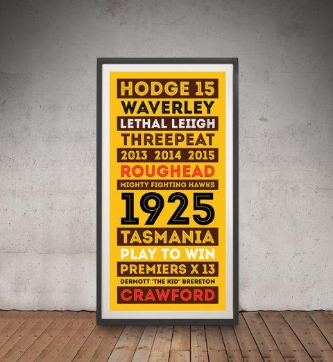 Hawthorn Hawks Tram Scroll AFL Framed Art