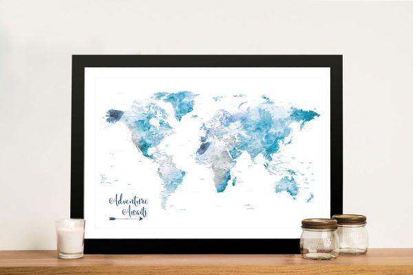 Buy an Ocean Tones Push Pin World Map