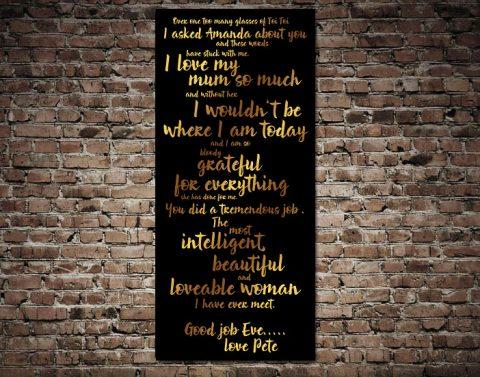 Personalised Quote canvas Australia