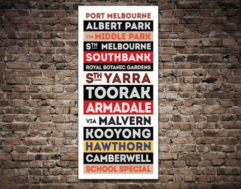 Port Melbourne Tram Sign Canvas Art