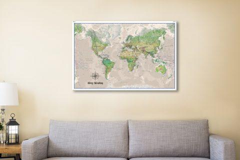Buy Push Pin World Map Art Australia