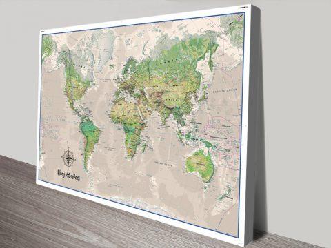Poseidon Push Pin World Map canvas print