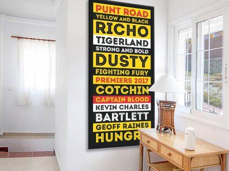 Richmond Tigers AFL Team Colours Canvas Print