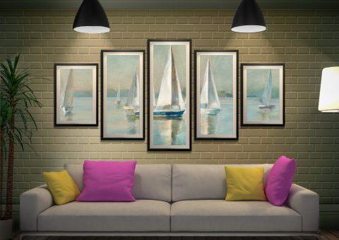 Sailboats at Sunrise Framed Wall Art