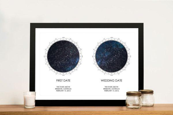 Buy Custom Dual Star Chart Framed Wall Art