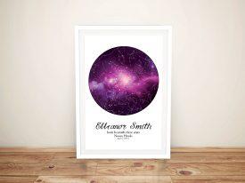 Buy Purple Cosmos Custom Star Chart Prints