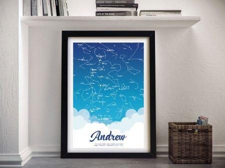 New Born Baby Boy Personalised Star Map Art