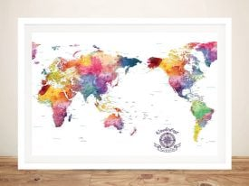 Australia-Centred-Watercolour Splash-Push-Pin-Travel-World-Map