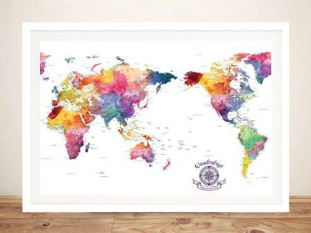 Australia-Centred-Watercolour Splash-Push-Pin-Travel-World-Map