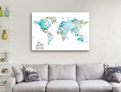 Custom World Map Canvas Artwork