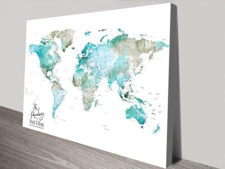 Personalised Green Watercolour Push Pin World Map