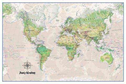 Custom Push Pin World Map Art Australia